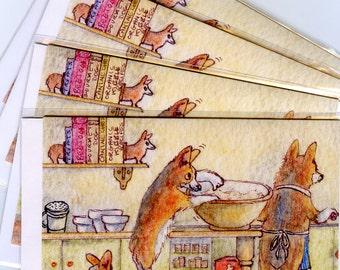 4 x Welsh Corgi dog greeting cards - pups pinching uncooked dough
