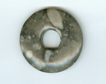 40mm Shades of Gray Jasper Gemstone Pi Donut Focal Pendant With Dots 937T
