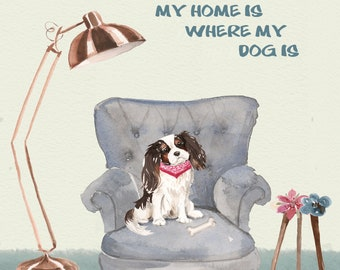 Poster Dog Dog print Dog in chair Living room Favorite chair Pets Flower Dogbone King Charles spaniel
