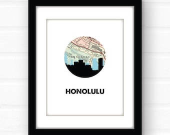 Honolulu map art | Honolulu, Hawaii print | Honolulu Oahu map art | Hawaii map art | Hawaii wall art print | travel poster | travel gift |