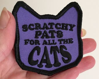 Iron on patch cat, Scratchy Pats For All The Cats, purple iron on patch, cat iron on patch, cat embroidery patch, cat accessory, kitty patch