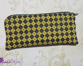 Zipper Pouch - Diamonds & Stripes in Yellow and Black