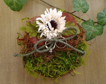 Rustic ring bearer pillow - woodland ring bearer - rustic wedding - moss ring bearer dish - nature wedding - outdoor wedding - barn wedding