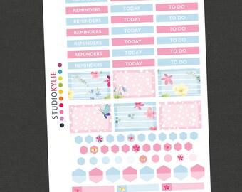 Flowers & Butterflies -Customisable Headers,Half Boxes, Hexagons and more - Suits Erin Condren Vertical Life Planner - Repositionable Vinyl
