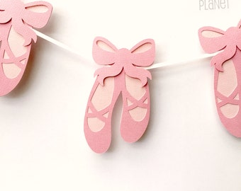 Ballet Shoes Party Banner. Baby girl, Birthday Party, Bunting, Garland. Baby shower, ballerina, party decorations. Pink with bows.