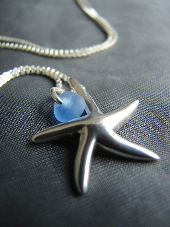Little Starfish sea glass necklace in cornflower blue