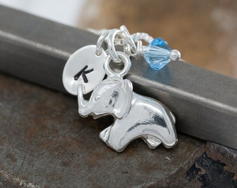Sterling Silver Elephant Necklace|Personalised|Silver Elephant Necklace|Elephant Jewellery|Initial Necklace|Birthstone Necklace|Gift for Her