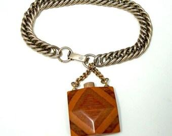 Vintage Layered Wood Perfume Bottle Charm Bracelet