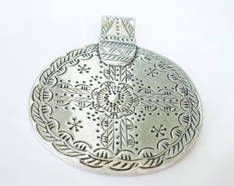Medal pendant 55mm silver plated brass