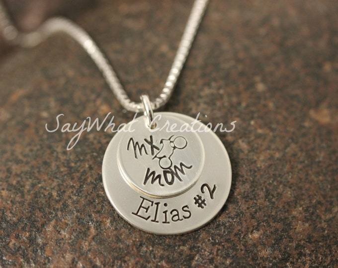 MX Mom Sterling Silver Hand Stamped Necklace for Dirt Bike Motocross Moms Personalized with name and number