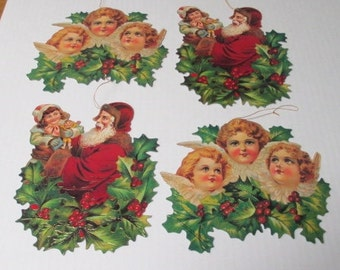 CHRISTMAS JUMBO ORNAMENTS Santa and Girl and Angels with Holly Shackman Die Cut Vintage Deadstock