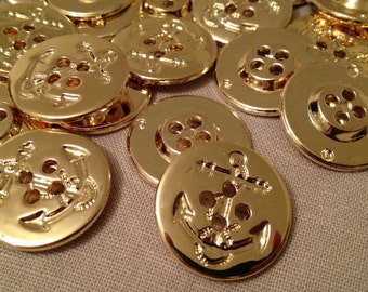 """Sew On Buttons, Gold Anchor, 4 Holes, 28mm(1-1/8""""), 4 pcs,"""