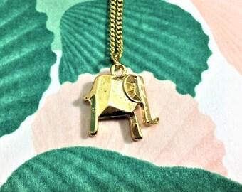 Gold elephant origami pendant necklace