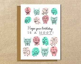 Cute Owl Birthday Card | A2 Illustrated Greeting Card