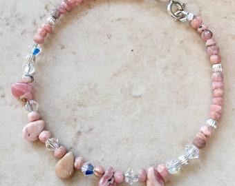 Beltane Bracelet. Rhodochrosite Sterling Silver Bracelet | Gemstone Bracelet | Powerful Love Stone | Heart Chakra | Wiccan | Pagan | Gift