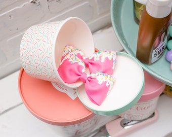 Ice cream and sprinkles hair bows / Icing bow / Ice cream bow with sprinkles
