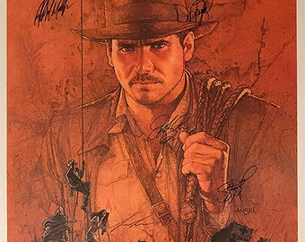 Raiders of the lost ark signed movie poster cast