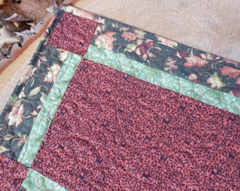 Fall Quilted Table Runner Handmade Woodland Quilted Table Runner, Handmade Quilted Table Runner, Free US Shipping