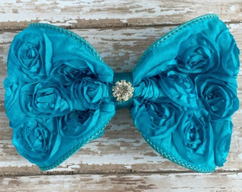 Turquoise Hair Bow, Turquoise Rosette Bow Hair Clip, Birthday Hair Bow, Big Hair Bow, Turquoise Hair Clip, Satin Rosette Hair Bow, Birthday