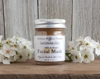 Organic Milk & Honey Face Mask Sample, Face mask Mini, Trial Size Honey Face Mask, Travel Size Beauty Treatment, Organic Skin Care Sample
