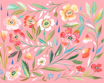 Anemone Garden Art Print | Watercolor Painting | Floral Pattern | Katie Daisy | 8x10 | 11x14