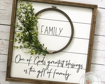 Family Sign, One of God's Greatest Blessings is the Gift of Family, Shiplap Wreath sign, Framed Shiplap Sign, Farmhouse Sign, Farmhouse