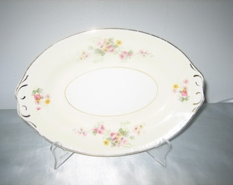 Homer Laughlin Georgian Eggshell Mini Platter Vintage Creamy Yellow & White With Pink And Yellow Flowers Gold Trim