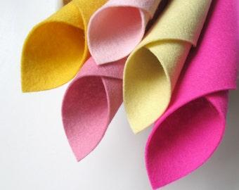 Wool Felt Set, Pink Lemonade Color Story, Pure Merino, Five Felt Sheets, Lavender Pink, Baby Yellow, Light Pink, Butter, Deep Pink, Summer