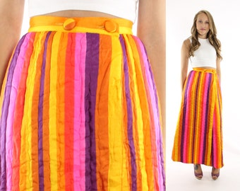 Vintage 70s Maxi Skirt Long Quilted Striped Bright Skirt Hippie Skirt 1970s Womens Fashion Small Medium S M Feiner Fashions
