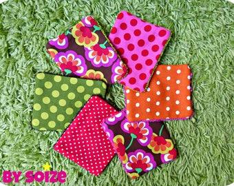 Lot de 6 Lingettes lavables (rouge/rose/marron)