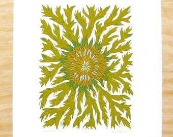 "Woodblock Print - ""Surround Me"" - Green Plant Print - Wall Art"