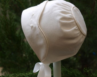 Hand Embroidered Ivory Winter Cotton Baby Girls Lined Bonnet to fit size 0-3, 3-6 , 6-12 months