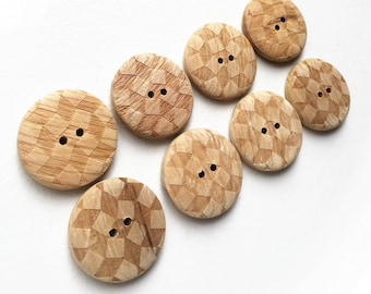 large eco friendlymildly distressed contrasting diamond pattern beige brown wood buttons--matching lot of 8