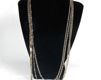 """Vintage Very Long Gold-Tone Necklace - 109"""", single chain with 2 styles, 1960s - retro, costume jewelry, can be doubled up,bar chain,flapper"""
