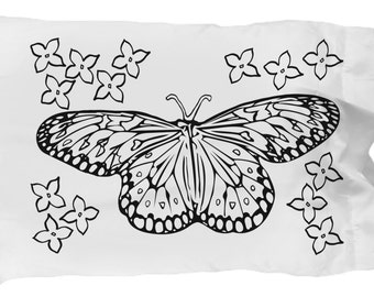 """Color Your Own - Butterfly and Flower White 20"""" x 30"""" Pillow Case"""