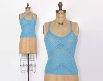 Vintage 90s Beaded Knit Top / 1990s Does 70s Sky Blue Slinky Knit Strappy Tank
