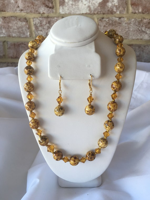 Gold Speckled Necklace and Lever Back Earring Set