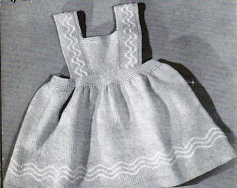 Toddler dress jumper knitting pattern PDF / Sizes 1, 2, 3 years / Zig Zag pattern Baby knitted jumper dress