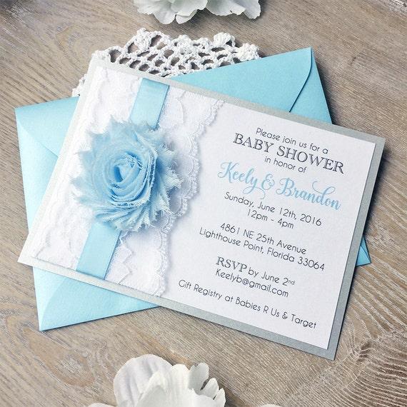 BRANDON - Baby Blue Baby Shower Invitation for Baby Boy- White Lace Baby Shower Invite - Chiffon Flower Invitation