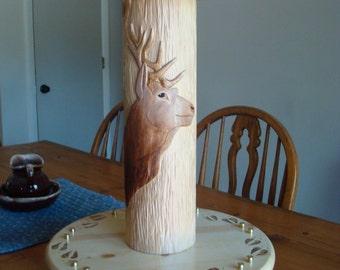 Hand carved Log  Elk table