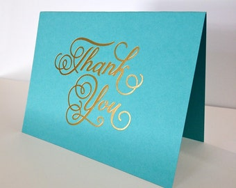 """Turquoise-""""Thank You"""", Gold Foiled"""