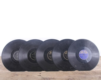 5 Vintage 78 Records / Black Vinyl Records / Antique Vinyl Records Decorations / Old Records / Decca and RCA / Retro Music Party Decor