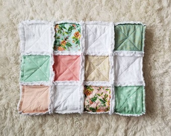 Mint and Blush Baby Quilt, Rag Quilt, Baby Blanket, Crib Quilt, Crib Blanket, Baby Girl, Baby Shower Gift, Shabby Chic Quilt, Ready to Ship