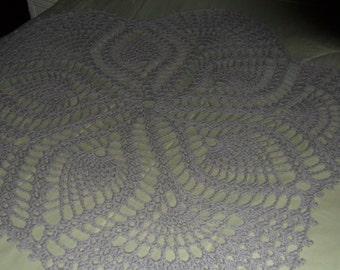 Crochet Afghan - Crochet Throw - Crochet Coverlet  ''FIVE-SIDED PINEAPPLE''  Crochet Bedspread -  in Soft Gray