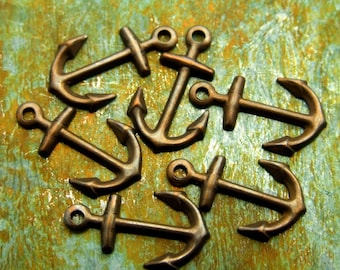 Anchor Charms - 6 pcs - Teenie Tiny Antiqued Brass Charms - Nautical Charms - Patina Queen