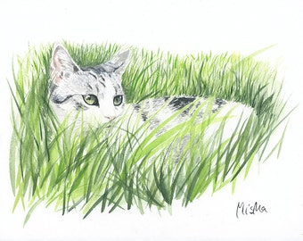 Cat portrait. Custom cat portrait. Watercolor painting. Cat lover gift. Gift for her