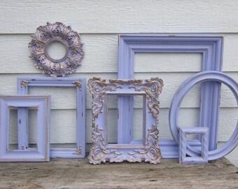 Set of 7 Open Frames - Lavender and Gold - Wall Gallery - Nursery - Wedding - Vintage Frames - Gold Frame Set -Scatter Frames - Purple Lilac