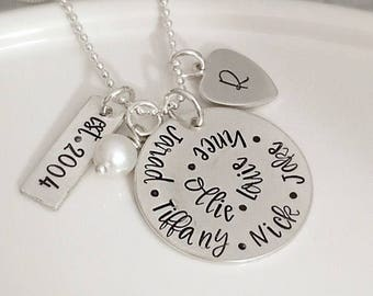 Family Necklace for Mom - Mother's Day Gift for Grandma - Personalized Gift with names - Us - Mother's Necklace - Sterling Silver Jewelry