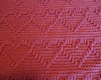 Crocheted Afghan - A Dozen Rows of Hearts