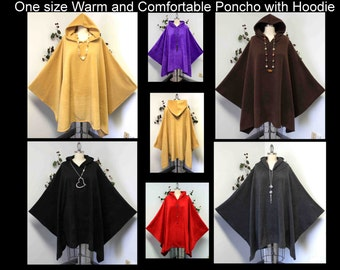 Versatile Travelers Full Size Poncho, Hooded Poncho, Fleece cape, Fleece Poncho, fits up to 5xl